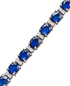 Velvet Bleu by EFFY® Sapphire (12 ct. t.w.) and Diamond (1/4 ct. t.w.) Tennis Bracelet in 14k White Gold