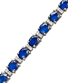 Velvet Bleu by EFFY Sapphire (12 ct. t.w.) and Diamond (1/4 ct. t.w.) Tennis Bracelet in 14k White Gold