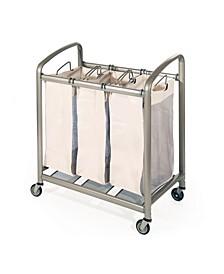 Deluxe Mobile 3-Bag Heavy-Duty Laundry Hamper Sorter Cart