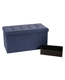 Foldable Tufted Storage Bench Ottoman