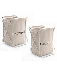 Aluminum X Frame Folding Laundry Hamper with Removable Canvas Bin, Set of 2