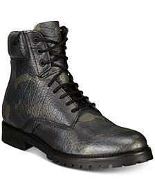 HUGO Men's Explore Leather Camo-Print Boots