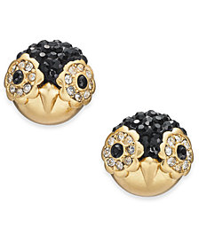 kate spade new york Gold-Tone Pavé Penguin Stud Earrings