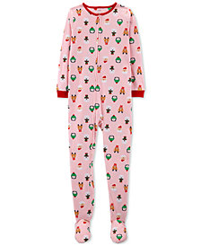 Carter's Little & Big Girls Holiday-Print Fleece Footed Pajamas