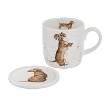 "Royal Worcester Wrendale 11 oz. Dog Mug & Coaster ""Hello Sausage"""