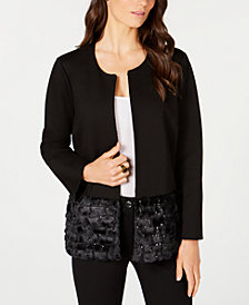 Alfani Faux-Fur Hem Jacket, Created for Macy's