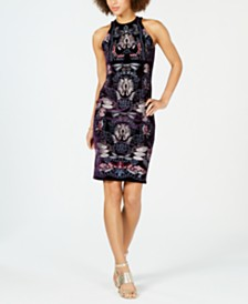 foxiedox Embroidered Velvet Sheath Dress
