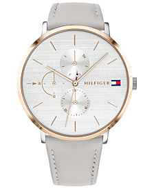 Tommy Hilfiger Women's Gray Leather Strap Watch 40mm Created for Macy's