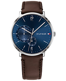 Tommy Hilfiger Men's Brown Leather Strap Watch 43mm