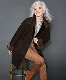 The Fur Vault Mink-Fur-Trim Shearling Lamb Coat