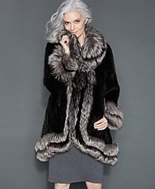 Fox-Fur-Trim Knitted Mink Coat