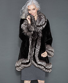 The Fur Vault Fox-Fur-Trim Knitted Mink Coat