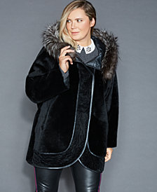 The Fur Vault Plus Size Reversible Shearling Lamb Jacket