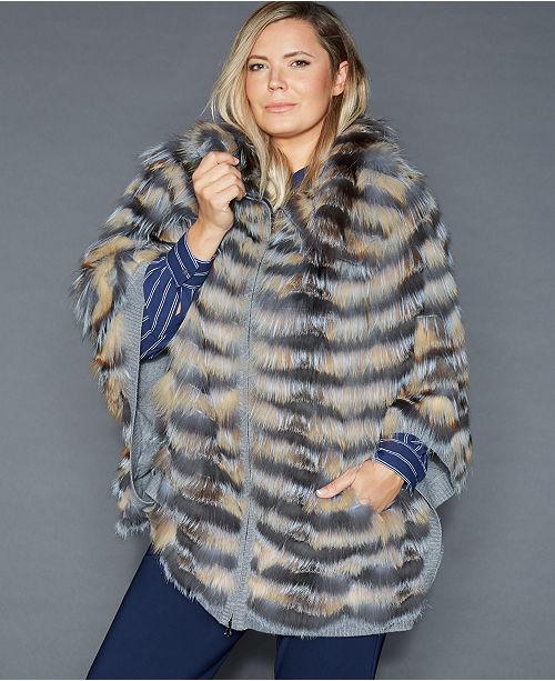 7ec37febb5d The Fur Vault Plus Size Fox Fur Poncho   Reviews - The Fur Vault ...