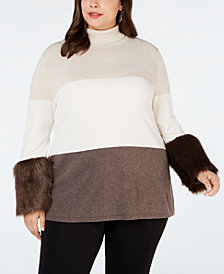Alfani Plus Size Faux-Fur-Cuff Colorblocked Turtleneck Sweater, Created for Macy's
