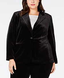 Calvin Klein Plus Size One-Button Velvet Jacket