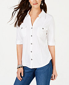 Style & Co Roll-Tab Metal-Button Front Shirt, Created for Macy's