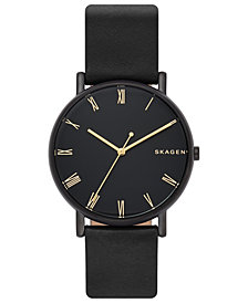 Skagen Men's Signatur Black Leather Strap Watch 40mm