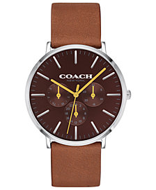 COACH Men's Varick Brown Leather Strap Watch 40mm