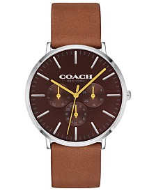 COACH Men's Varick Brown Leather Strap Watch 40mm