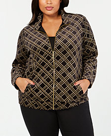 Karen Scott Plus Size Velour Plaid Jacket, Created for Macy's