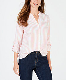 Style & Co Printed Button-Down Cotton Shirt, Created for Macy's
