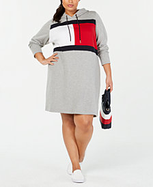 Tommy Hilfiger Plus Size Logo Sweatshirt Dress, Created for Macy's