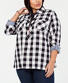 Plus Size Cotton Plaid-Check Top, Created for Macy's