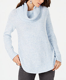 Style & Co Waffle-Stitch Cowlneck Sweater, Created for Macy's