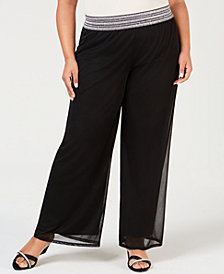 JM Collection Plus Size Metallic-Smocked Pull-On Pants, Created for Macy's