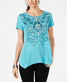 Style & Co Embellished Printed Handkerchief-Hem T-Shirt, Created for Macy's