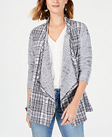 Style & Co Draped French Terry Plaid Cardigan, Created for Macy's