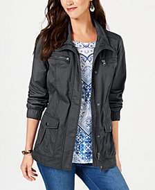 Style & Co Cotton Cargo Zip-Front Jacket, Created for Macy's