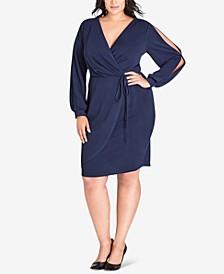 Trendy Plus Size Split-Sleeve Faux-Wrap Dress