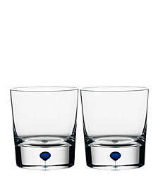 Orrefors Intermezzo Blue Whiskey, Set of 2