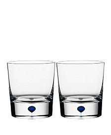 Orrefors Intermezzo Blue Whiskey, Set of 2