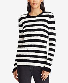 Lauren Ralph Lauren Ruffled-Cuff Striped Cotton Sweater