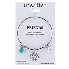 Friends Forever Infinity Charm and Turquoise (8mm) Bangle Bracelet in Stainless Steel with Silver Plated Charms