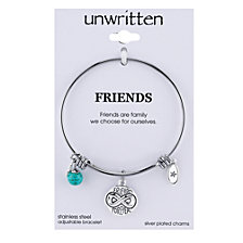 Unwritten Friends Forever Charm and Turquoise (8mm) Bangle Bracelet in Stainless Steel