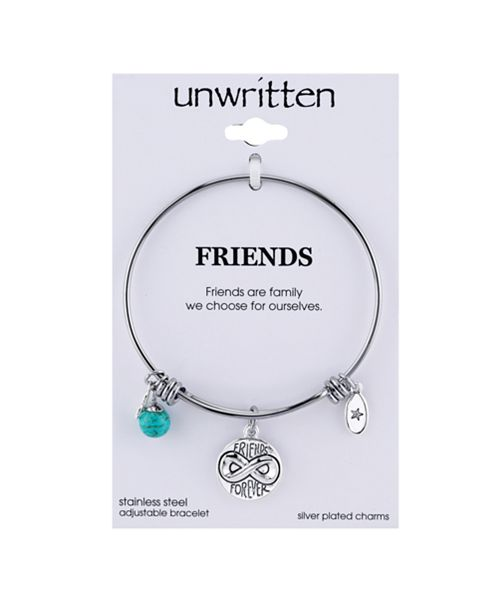 4fc4c65c815e7 Friends Forever Infinity Charm and Turquoise (8mm) Bangle Bracelet in  Stainless Steel