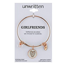 Two-Tone Girlfriends Heart Charm Bangle Bracelet in Rose Gold-Tone Stainless Steel