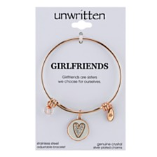Unwritten Two-Tone Girlfriends Heart Charm Bangle Bracelet in Rose Gold-Tone Stainless Steel