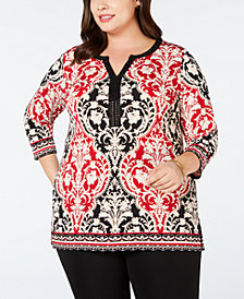 JM Collection Plus Size Split-Neck Embellished Tunic, Created for Macy's