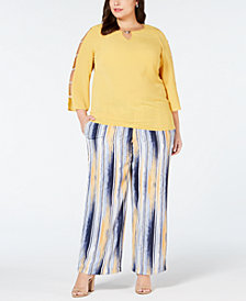 JM Collection Ladder-Sleeve Top & Tie-Waist Printed Pants, Created for Macy's