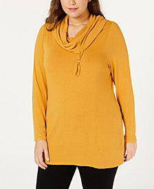 Belle by Belldini Plus Size Cowl-Neck Grommet Sweater