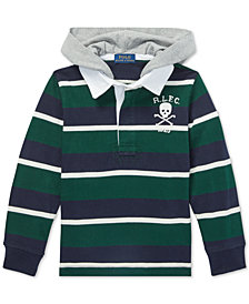 Polo Ralph Lauren Little Boys Striped Hooded Cotton Rugby Shirt