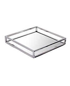 Large Square Mirrored Tray with Chrome Rails