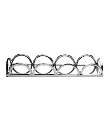 Classic Touch Rectangular Mirrored Tray with Chrome Loop Bars