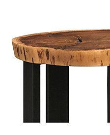 Alpine Natural Live Edge Wood Round End Table