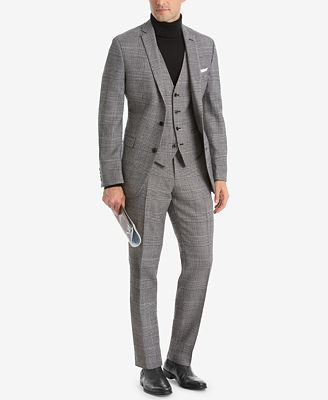 Bar Iii Men S Slim Fit Black White Plaid Suit Jacket Created For